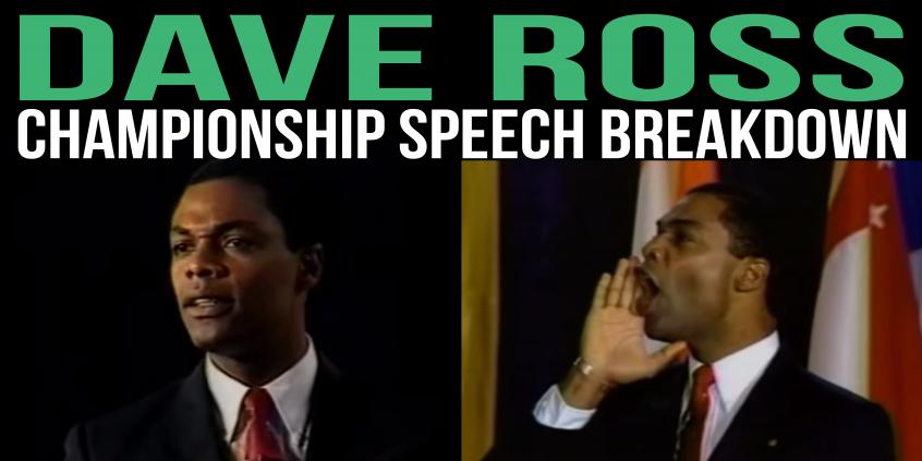 dave ross toastmasters champion 1991 matt kramer tactical talks speech breakdown analysis public speaking review